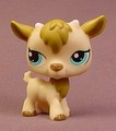 Littlest Pet Shop #1316 Tan Billy Goat With Aqua Blue Eyes, Brown Ears & Fur, Special Edition