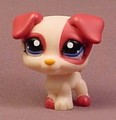 Littlest Pet Shop #1200 Reddish Brown & Tan Or Cream Puppy Dog With Dark Blue Eyes