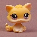 Littlest Pet Shop #114 Light Orange Or Tan Baby Kitty Cat Kitten With Purple Eyes, Curly Tail