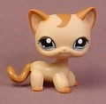 Littlest Pet Shop #1024 Blemished Light Brown Or Tan Kitty Cat Kitten With Blue Eyes