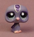 Littlest Pet Shop #1085 Dark Purple Penguin Bird With Fancy Aqua Blue Green Eyes