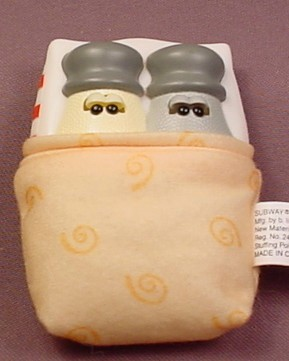Blue's Clues Salt & Pepper Tucked Into A Bed, The Eyes Close, 3 1/2 Inches Long, Stuffed Bed