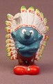 Smurf Indian Chief With Full Feather Headdress, 2 3/8 Inches Tall, 1981 Schleich Peyo