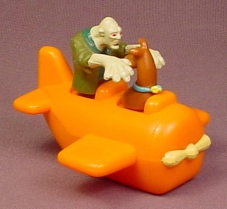Scooby Doo In An Orange Airplane With A Ghoul Ghost, Has A Pull Back Motor, 3 Inches Long