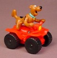 Scooby Doo Riding A Red Quad ATV Toy, Scooby Shakes As It Rolls, 2 1/2 Inches Long, 2002