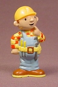 Bob The Builder Hard Plastic Figure, 2 1/8 Inches Tall, In A Thinking Pose