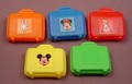 Disney Set Of 5 Vintage Suitcases, Mickey Minnie Daisy & Goofy Stickers On Them