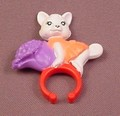 McDonalds 2008 Polly Pocket White Puppy Dog With Purple Flowers Ring Carrier