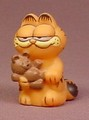 Garfield The Cat Soft Vinyl, Figure Holding A Teddy Bear, 1 3/4 Inches Tall, Hong Kong