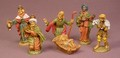 Set Of 6 Nativity PVC Figures, The Tallest Is 2 3/8 Inches Tall, 3 Wise Men, Shepherd, Jesus