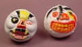 Madballs Knockoff Pair Of Balls With Horror Faces, Hollow Plastic, Halloween