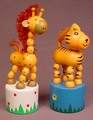 Pair Of Wooden Push Puppet Toys, Giraffe & Tiger, Press The Bottom To Make Them Collapse