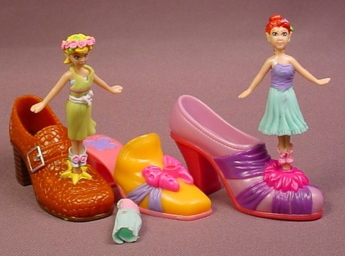 Shoe Fairies Dancers Lot Of Figures & Shoes, The Fairy Figures Do Not Have Their Wings