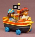 Dora The Explorer & Diego Riding In A Diecast Metal Pirate Ship, 3 Inches Long