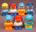 Bandai Tonka Lot Of 7 Little People Playset Figures (B), 2 1/4 Inches Tall, Tonka