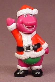 Barney The Purple Dinosaur In A Santa Claus Suit PVC Figure, 2 5/8 Inches Tall, Figurine