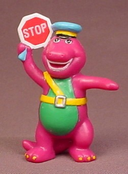 Barney The Purple Dinosaur Crossing Guard Holding A Stop Sign PVC Figure, 2 3/4 Inches Tall
