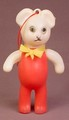 Vintage Celluloid Plastic Red & White Teddy Bear Figure With Ornament Loop