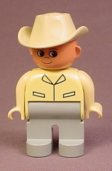 Lego Duplo 4555 Articulated Figure, Tan Cowboy Hat, Yellow Shirt, Gray Legs, Safari, Zoo