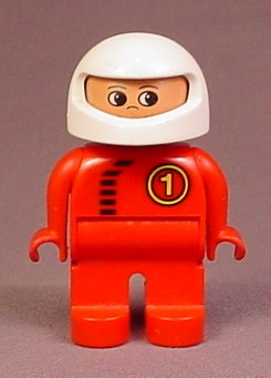 Lego Duplo 4555 Articulated Figure, White Racing Helmet, Red Suit With Zipper & #1 Pattern