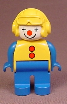 Lego Duplo 4555 Articulated Clown Figure, Yellow Helmet & Vest With Red Buttons Pattern