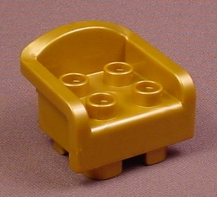 Lego Duplo 6477 Pearl Gold Throne Or Chair Furniture, Thick Arms & Round Base, 6151 Disney