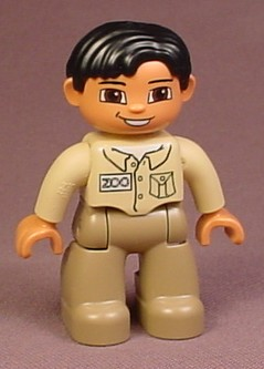 Lego Duplo 47394 Male Articulated Figure, Tan Shirt, Brown Pants, Zoo Keeper, Zookeeper