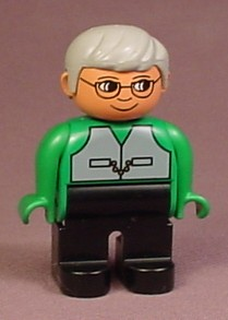 Lego Duplo 4555 Articulated Figure, Gray Hair, Glasses, Green Shirt With Gray Vest