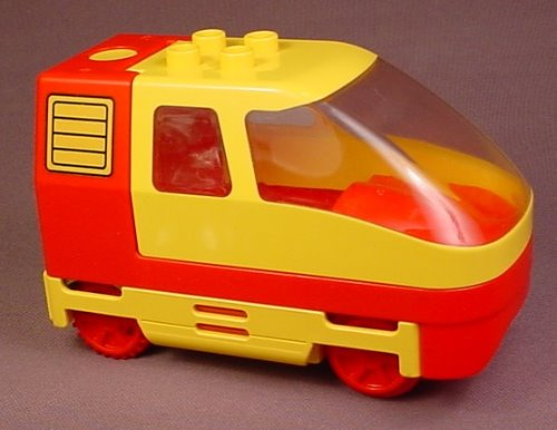Lego Duplo 2961 Yellow & Red Electric Train Engine, Uses 3 AAA Batteries, Has Been Tested
