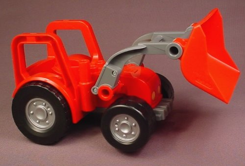 Lego Duplo 47444 Red Tractor Vehicle With Frond End Loader Bucket That Pivots
