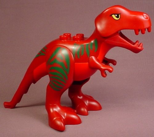 Lego Duplo Dark Red Adult T-Rex Dinosaur With Green Stripes Pattern, The Head Pivots Up