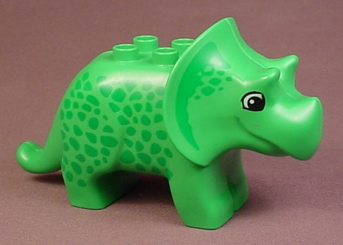 Lego Duplo 31049 Bright Green Adult Triceratops Dinosaur Animal Figure With Green Spots