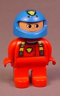 Lego Duplo 4555 Articulated Figure, Blue Helmet With Gold Pattern, Red Suit, Racer, Astronaut