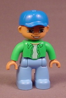 Lego Duplo 47394 Male Articulated Figure, Blue Baseball Hat That Turns, Green Shirt & Tie