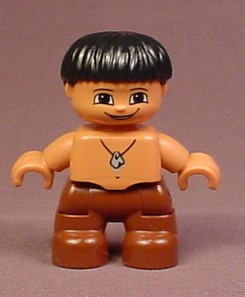 Lego Duplo 47205 Boy Child Articulated Caveman Caveboy Figure With Stone Necklace