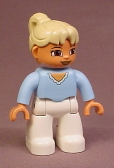Lego Duplo 47394 Female Articulated Figure, Legoville, Blonde Ponytail, Light Blue Shirt
