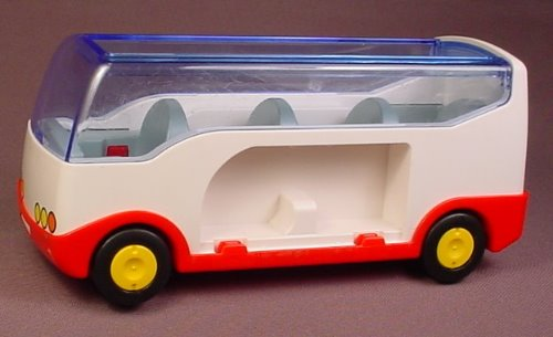 Playmobil 123 White & Red Tour Bus Vehicle With Blue Pretend Glass, 4 Seats