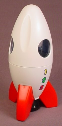Playmobil 123 White & Red Moon Rocket Ship With Port Holes, The Top Is Removable