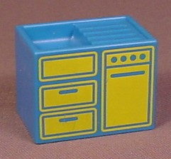 Playmobil 123 Blue Kitchen Cupboard With Yellow Drawers & Dishwasher Pattern, Sink Top