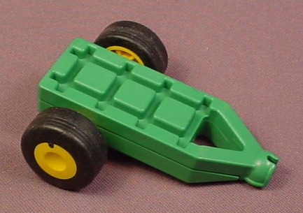 Playmobil 123 Green Trailer With Yellow Wheels, Front End Clips Onto Any Hitch