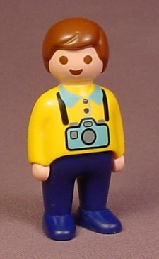 Playmobil 123 Adult Male Figure With Yellow Shirt & Blue Camera, Tourist, 6742