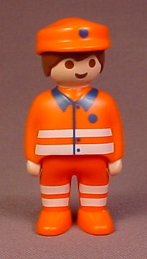 Playmobil 123 Adult Male Figure With Orange Hat & Clothes With Reflector Stripes
