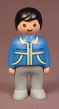 Playmobil 123 Adult Male Figure With Blue Jacket With Lime Green Trim, Gray Legs, 6772
