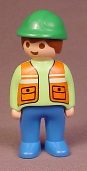 Playmobil 123 Adult Male Figure With Green Hard Hat, Lime Green Shirt, Orange Safety Vest