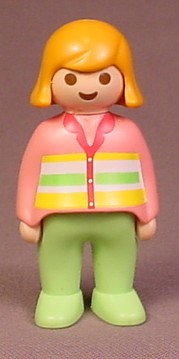 Playmobil 123 Adult Female Figure With Orange Hair, Pink Sweater With Stripes