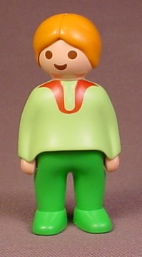 Playmobil 123 Adult Female Figure With Orange Hair In A Bun, Light Green Shirt
