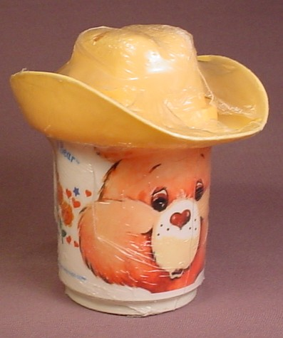 Care Bears Friend Bear Mug Or Cup With A Cowboy Hat Top, Still Wrapped In Original Plastic