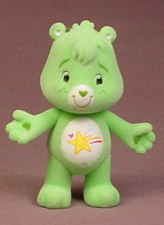 Care Bears Fuzzy Or Flocked Poseable Wish Bear Figure, 2 7/8 Inches Tall, TCFC