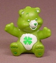 Care Bears Luck Bear Sitting With Head Turned PVC Figure, 1 3/4 Inches Tall, Figurine, TCFC