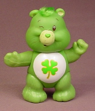 Care Bears Luck Bear Poseable Figure, 3 3/8 Inches Tall, Has A Tuft Of Hair